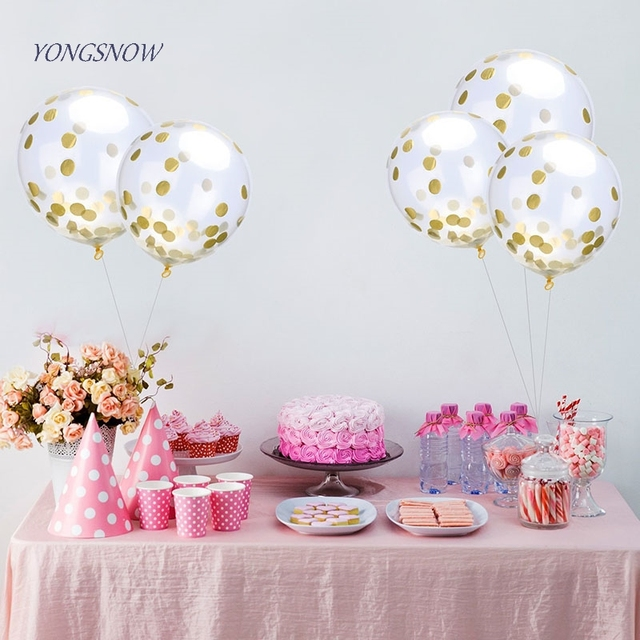 Beautiful 12 Inch Multicolor Confetti Balloon Clear Birthday Balloons Baby Shower  Decoration Leakproof Balloon Party Supply Accessories