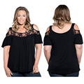 4XL Plus Size Women Clothing Elegant Lace Shirts Off Shoulder Summer Blouse O-neck Women Blouses Fashion Blusas 2016 Body Tops