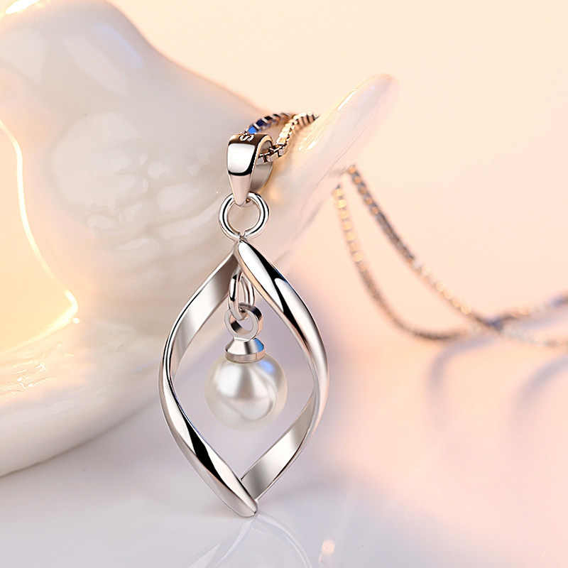 Eelegant 925 Sterling Silver Simulated Pearl Pendant Necklace for Women Collier Femme Long Chain Necklace Wedding Jewelry Gift