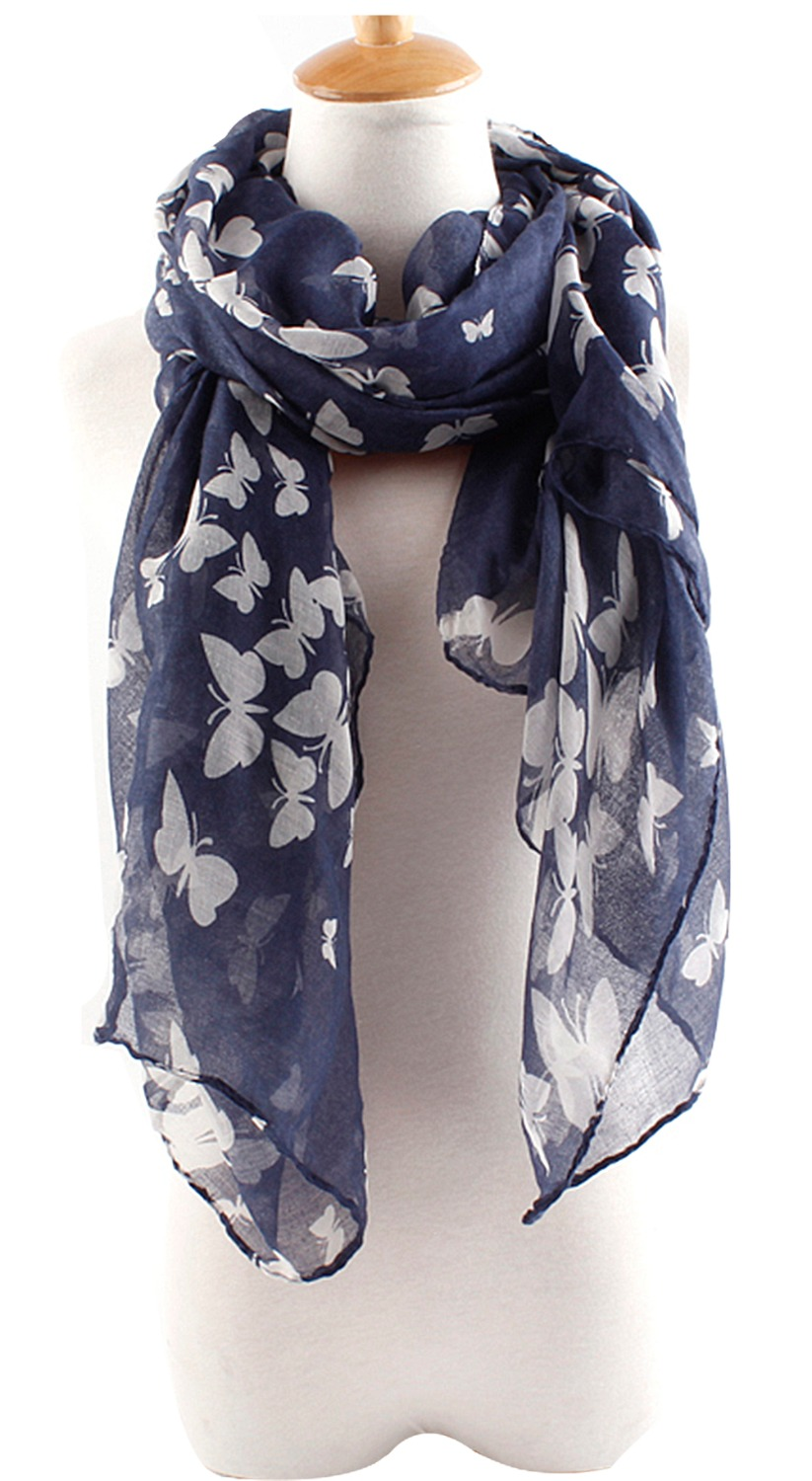 New Women Ladies Butterfly Print Soft Spring Summer Long Scarf wrap stole Gift