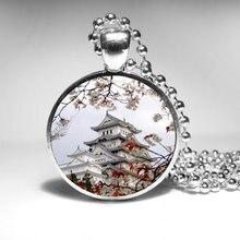 Ожерелье ручной работы Япония пагода кулон ожерелье 1 шт./лот бронза или серебро стекло кулон Ювелирная цепочка винтажное ожерелье