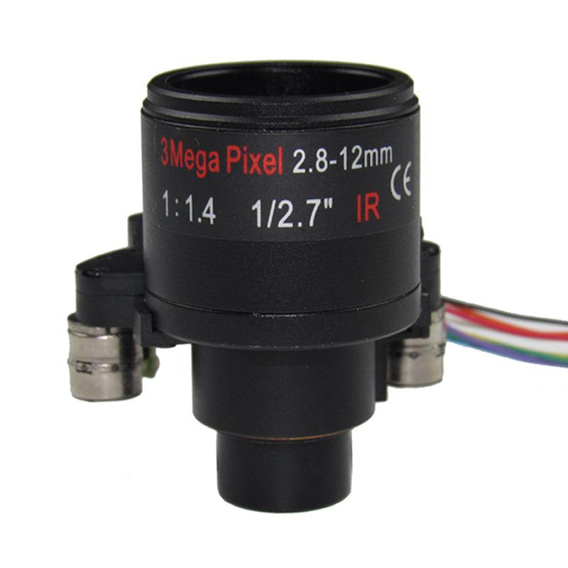 3.0Megapixel Fixed Iris HD Motorized 2.8-12mm M14 Varifocal CCTV IR DC lens for IP Camera, F1.4, focus & zoom