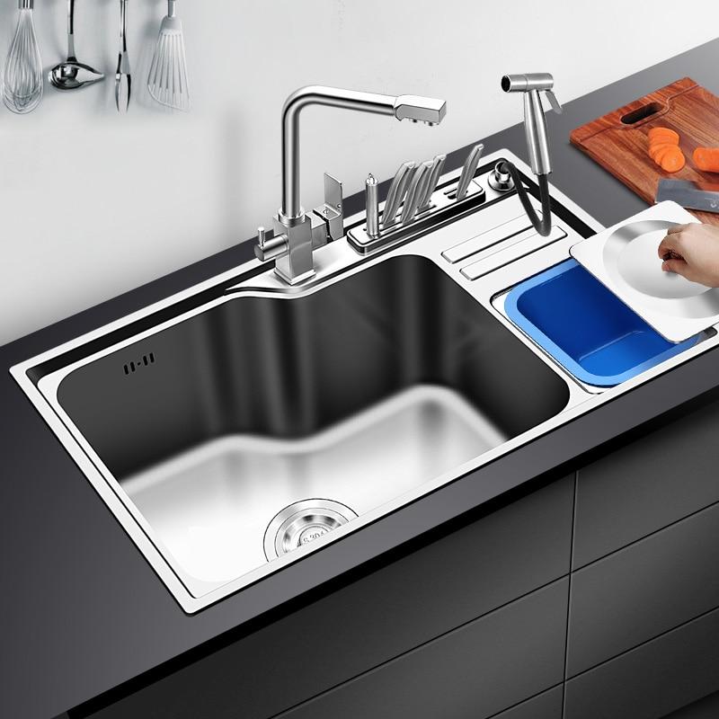 304 edelstahl nano küche waschbecken zeichnung große einzigen schüssel slot becken pakete nehmen mülleimer rest teich - 2