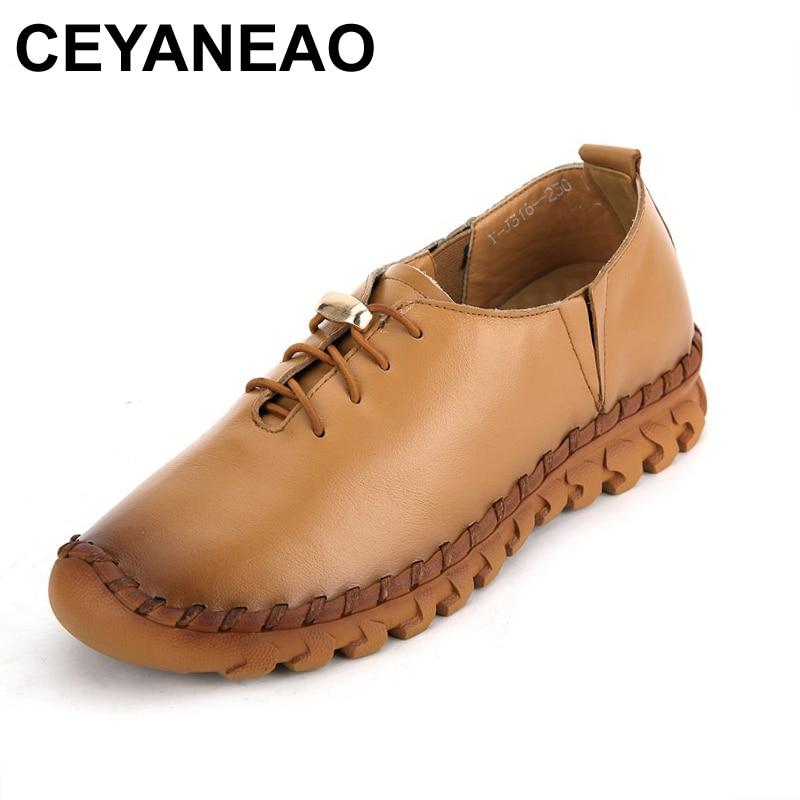 Ceyaneao2018 Frühjahr Echtem Leder Frauen Schuhe Handgemachte Freizeitschuhe Frau Faulenzer Angenehme SüßE