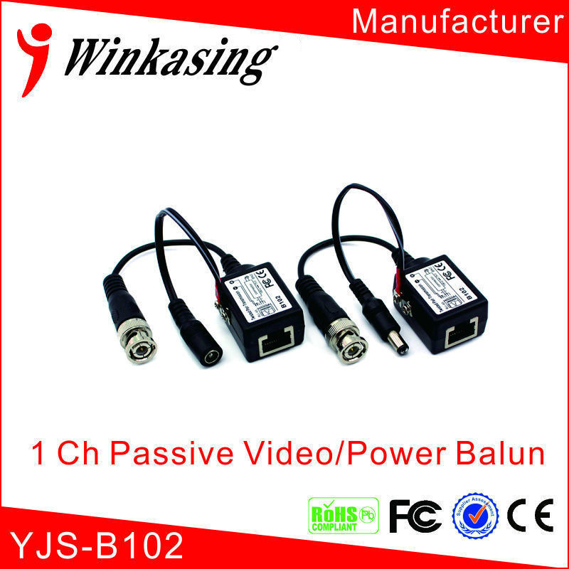 10pairs 1 channel passive power video transceiver video balun bnc to rj45 with power single channel passive video balun grey silver 2 pcs