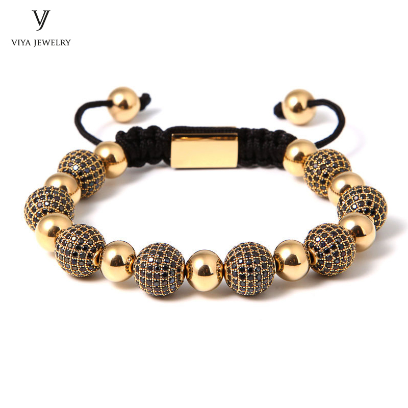 New Fashion Luxury Drill Ball Bracelet Black CZ Beads + Steel Beads Macrame Braiding Bracelets Jewelry For Famous Brand Watch new anil arjandas macrame bracelets 18pcs rose gold micro pave black cz stoppers beads braiding macrame bracelet for men jewelry