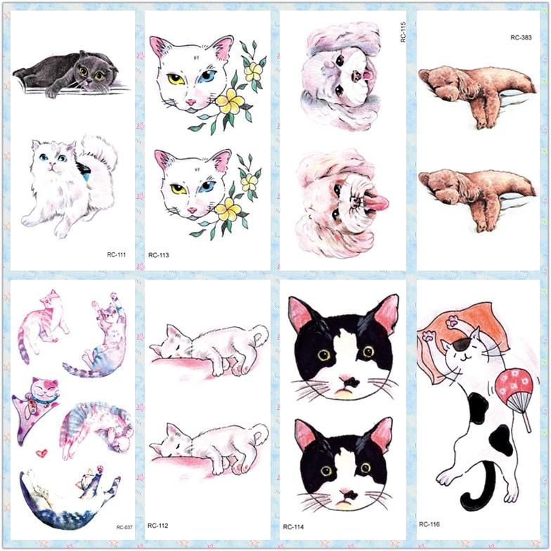 Rocooart New Cute Dog Temporary Tattoo Stickers Kids Cartoon Flash Taty For Child Body Art Fake Tattoo Tatuagem Animal Tatouage