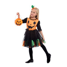 Kids Child Cute Pumpkin Dress Costume for Girls Fantasia Halloween Purim Carnival Mardi Gras Party Cosplay