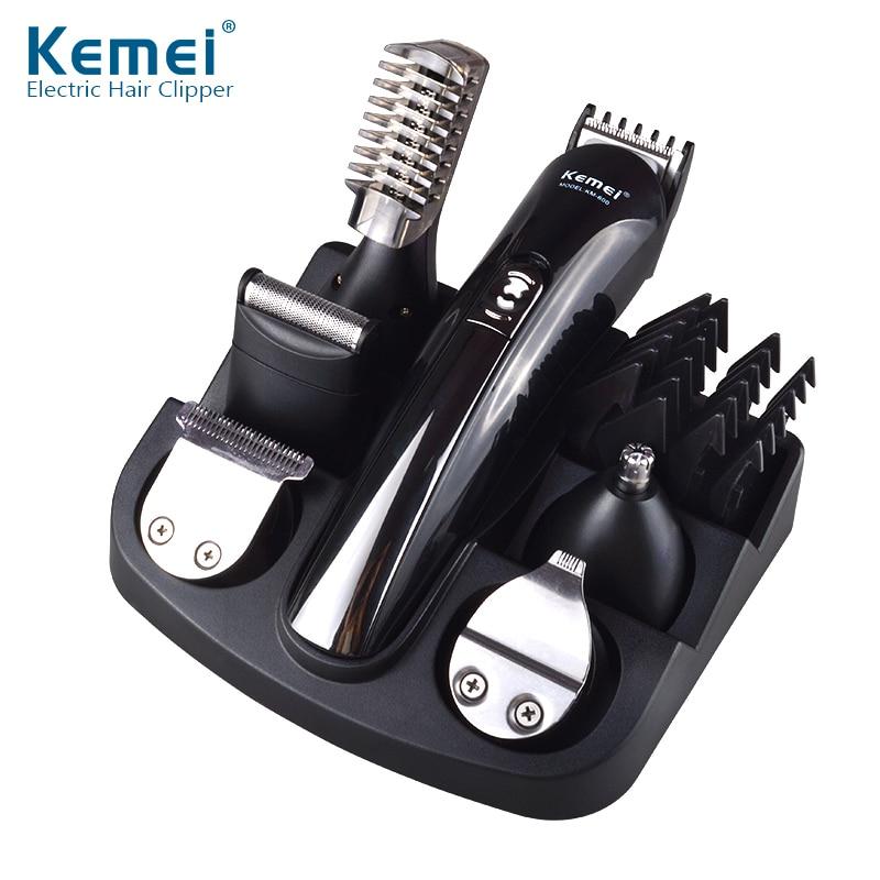 6 en 1 tondeuse à cheveux Rechargeable tondeuse à cheveux en titane tondeuse à barbe électrique hommes outils de coiffure Machine à raser Kemei 600