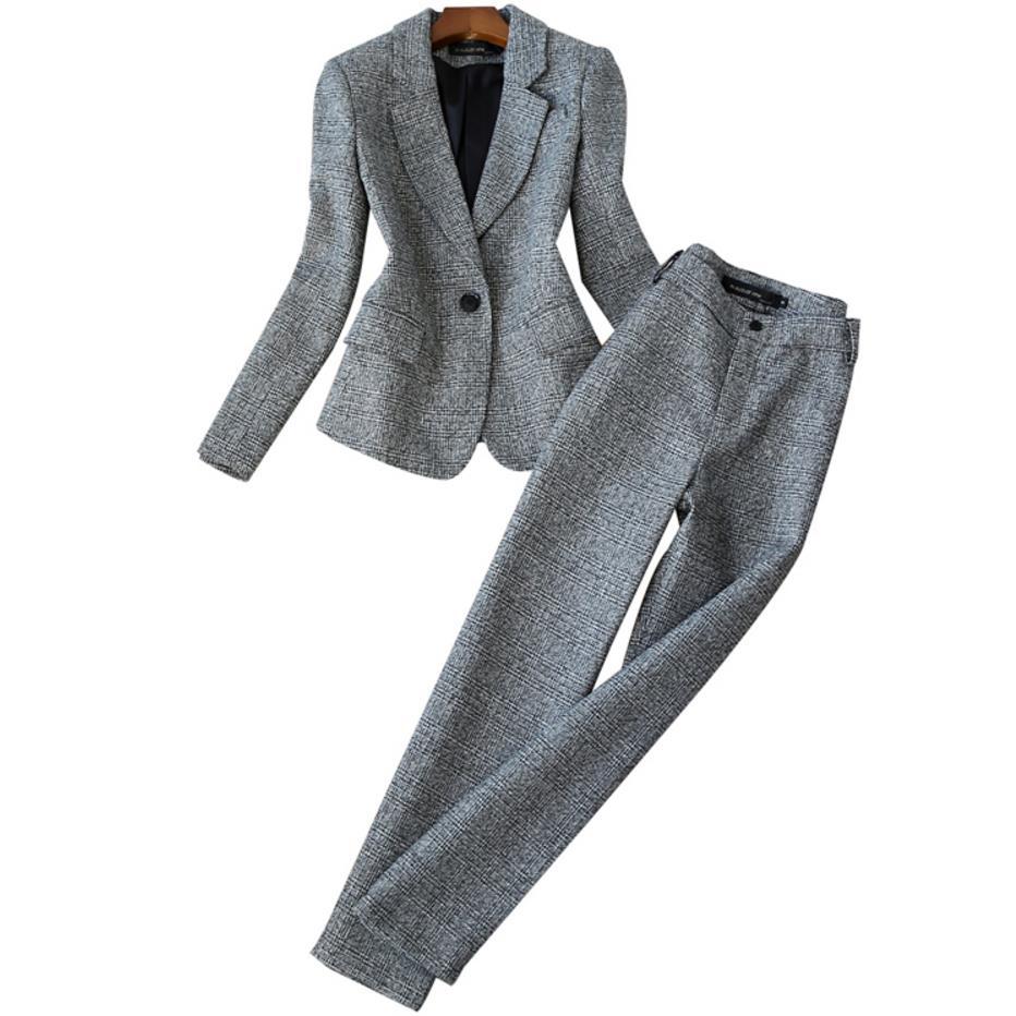 2019 Autumn Women Long Sleeved Woolen Suit Blazer Jacket + Pencil Pants Two Piece office Ladies Professional Pants Suit - 3