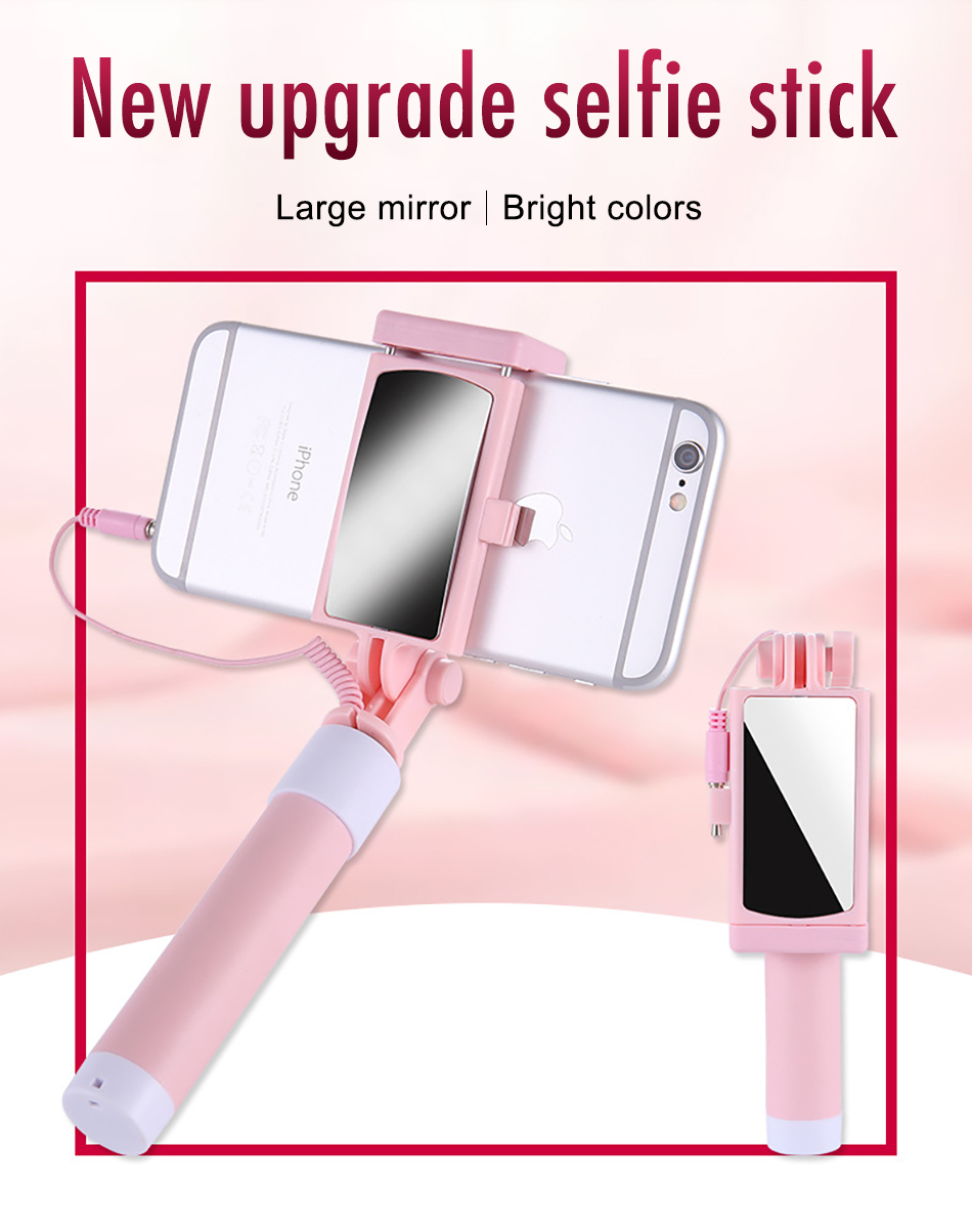 !ACCEZZ Mini Wired Selfie Stick IOS For iPhone X XR XS MAX 8 7 6 For Huawei Samsung Monopod Foldable Portable Selfiestick Mirror (1)