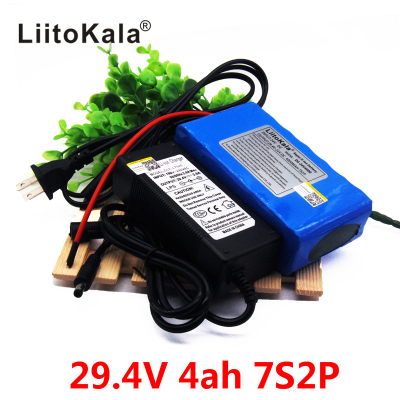 HK LiitoKala 24V 4Ah 7S2P 18650 Battery li-ion battery 29.4v 4000mah electric bicycle moped /electric +2A charger electric bicycle case 36v lithium ion battery box 36v e bike battery case used for 36v 8a 10a 12a li ion battery pack