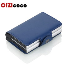 Cizicoco New Men And Women Credit Card Holder Double Box Pu Leather Fashion Mini Safe Aluminum Antimagnetic Purse Case