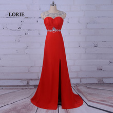 LORIE Red Long Evening Dress Scoop A Line Beaded with Rhinestones Chiffon Keyhole Back Prom Dress