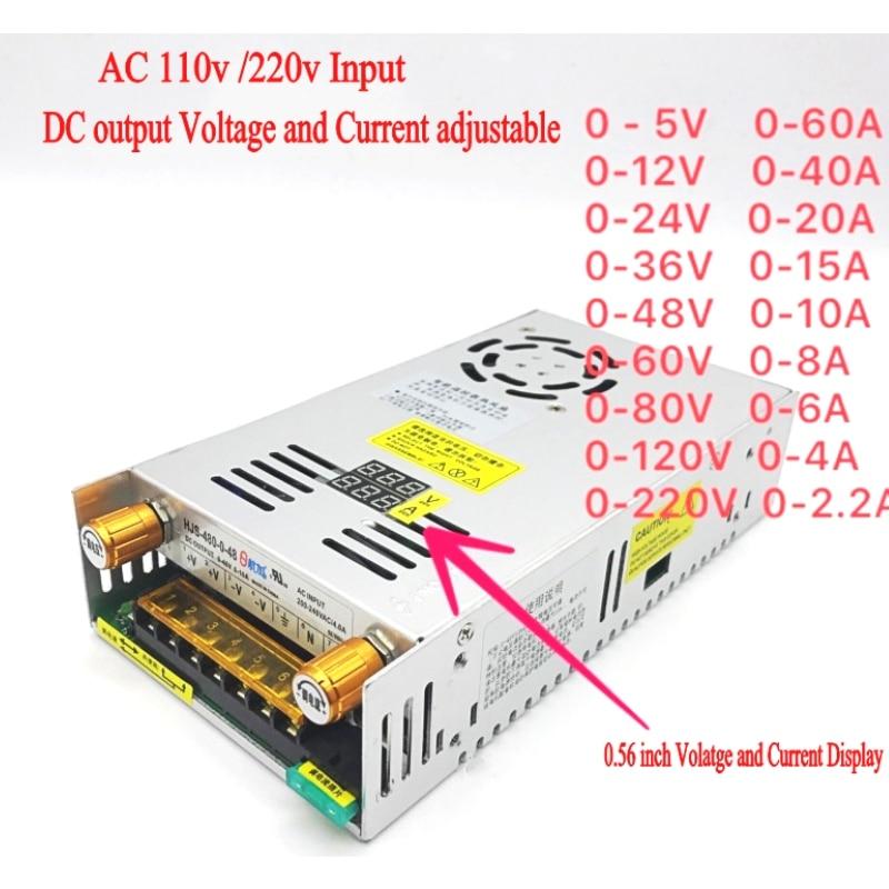 AC-DC Converter Digital display current Voltage adjustable Switch regulated power supply DC 12V 24v 36v 48v 60v 80v 120v 480W-0