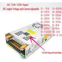 AC DC dönüştürücü dijital ekran akım gerilim ayarlanabilir anahtarı regüle güç kaynağı DC 12V 24v 36v 48v 60v 80v 120v 480W