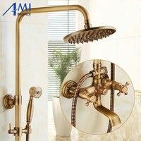 Antique Brass Brushed Shower Set 8 Shower Head Bathroom Shower Faucet Set Rainfall Shower Mixer Tap