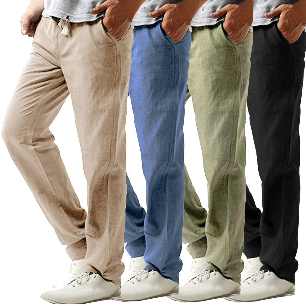 2019 Summer Men's Casual Slim Strandhosen Linen Hose Pant Solid Trousers Trousers Solid Breathable Pants Plus SizeZ0306