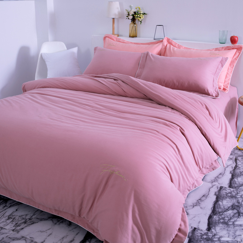 ROWBOE brand High-end cotton quilt cover sheet pillowcase four-piece set of comfortable thick warm solid color home textileROWBOE brand High-end cotton quilt cover sheet pillowcase four-piece set of comfortable thick warm solid color home textile
