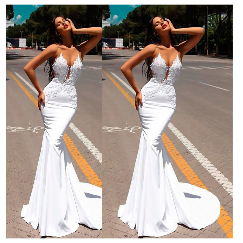 Image 4 - 2019 White Mermaid Lace Wedding Dresses 2019 Trumpet Train Illusion bridal gown dress Floor Length Sexy Wedding Party Gowns-in Wedding Dresses from Weddings & Events