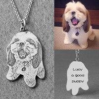 Zoeber 925 Sterling Silber Benutzerdefinierte Pet Halskette Kind Geschenk Hund Katze Charme Anhänger Halskette Silhouette Memory Schmuck