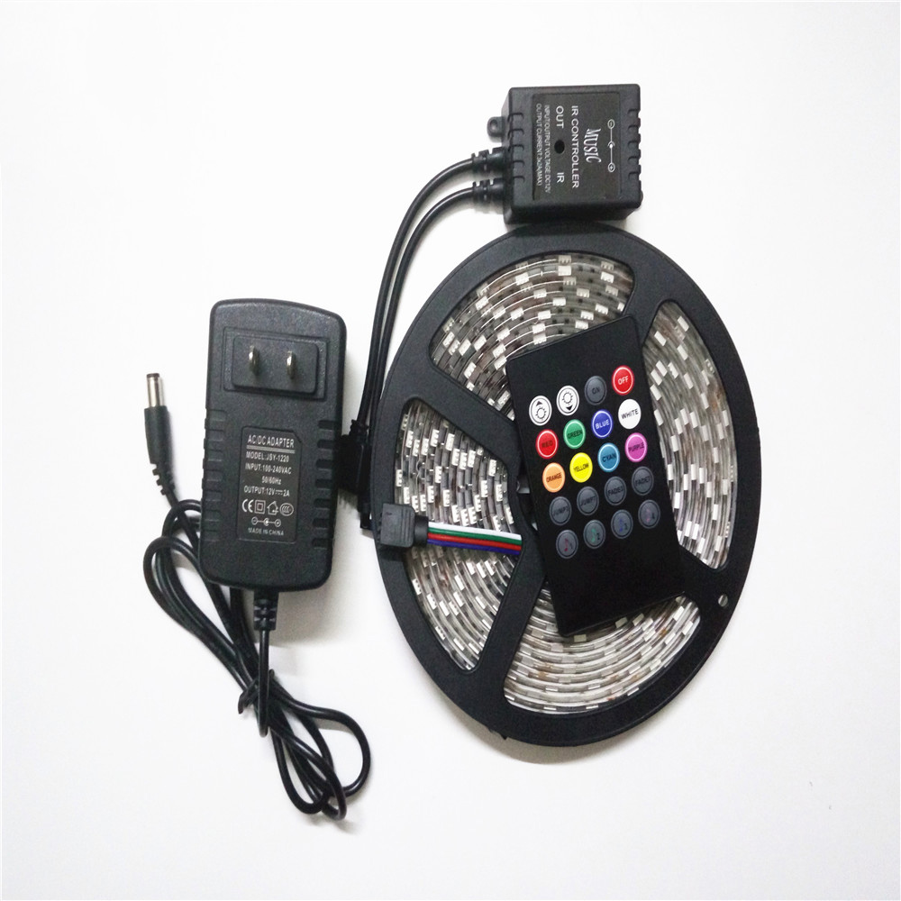 5M 5050 <font><b>RGB</b></font> Waterproof <font><b>LED</b></font> Strip Diode <font><b>Tape</b></font> 60LED/M + IR music controller sound activated +12V 3A Power Supply Adapter