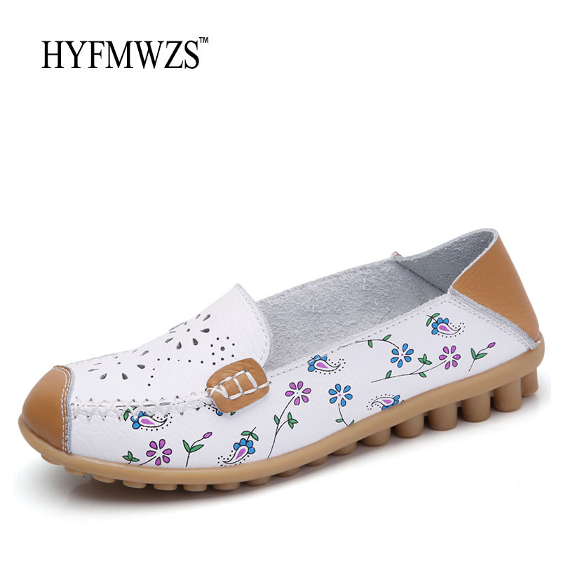 HYFMWZS Plus Size 35-44 Women Loafers 2017 Fashion Designers Oxford Leather Shoes Flat Shoes Women Soft Breathable Peas Shoes fashion tassels ornament leopard pattern flat shoes loafers shoes black leopard pair size 38