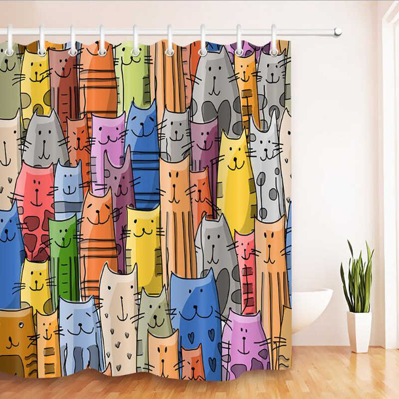 Colorful Cat Printed Bath Waterproof Curtain 3D Polyester Fabric Shower Curtain with 12 Hooks for Mildewproof Bathroom Decor