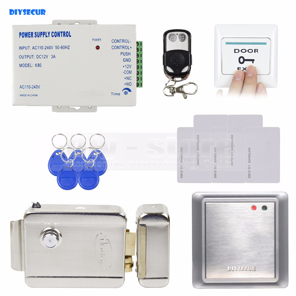 DIYSECUR Waterproof RFID Reader125KHz Access Control System Security Kit + Electronic Lock for Office / Home Improvement diysecur magnetic lock door lock 125khz rfid password keypad access control system security kit for home office