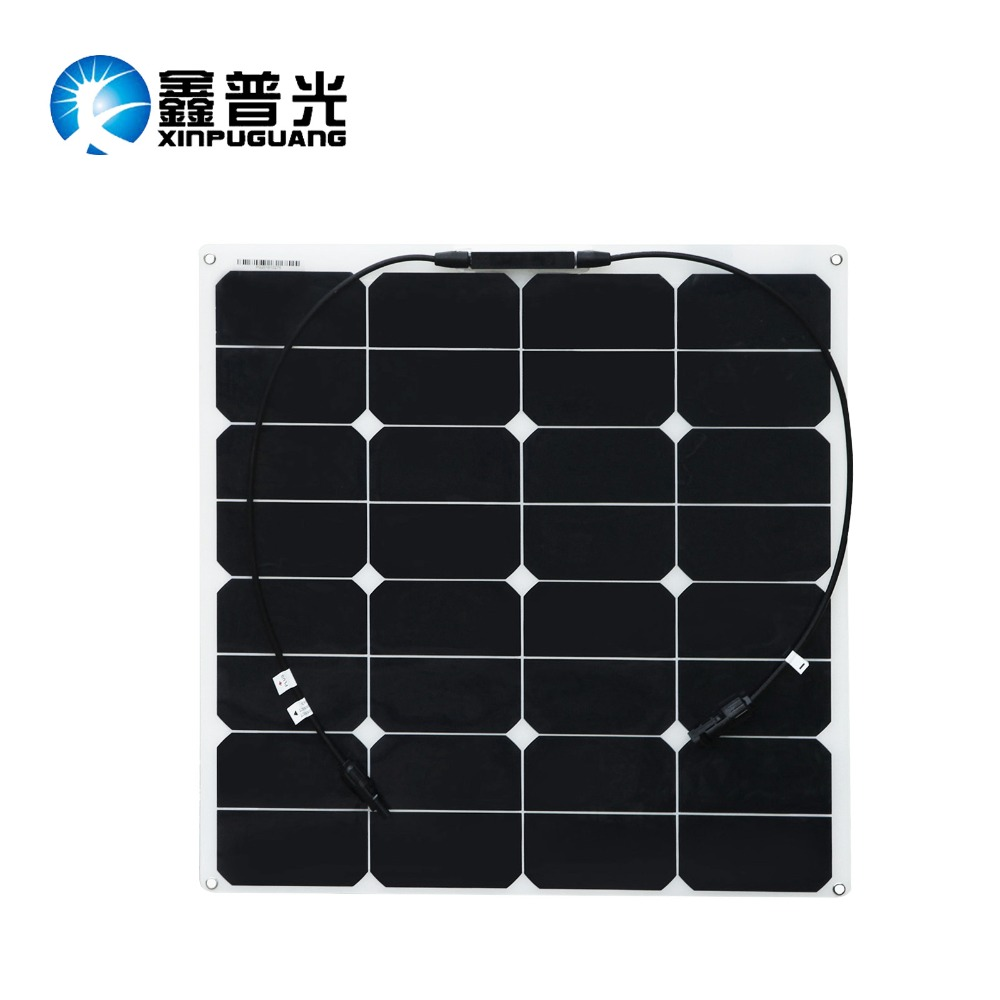 BOGUANG high efficiency 2pcs 50W 18v smoothy Flexible Solar Panel 100w solar module cell charge battery power Boats Cars Roof