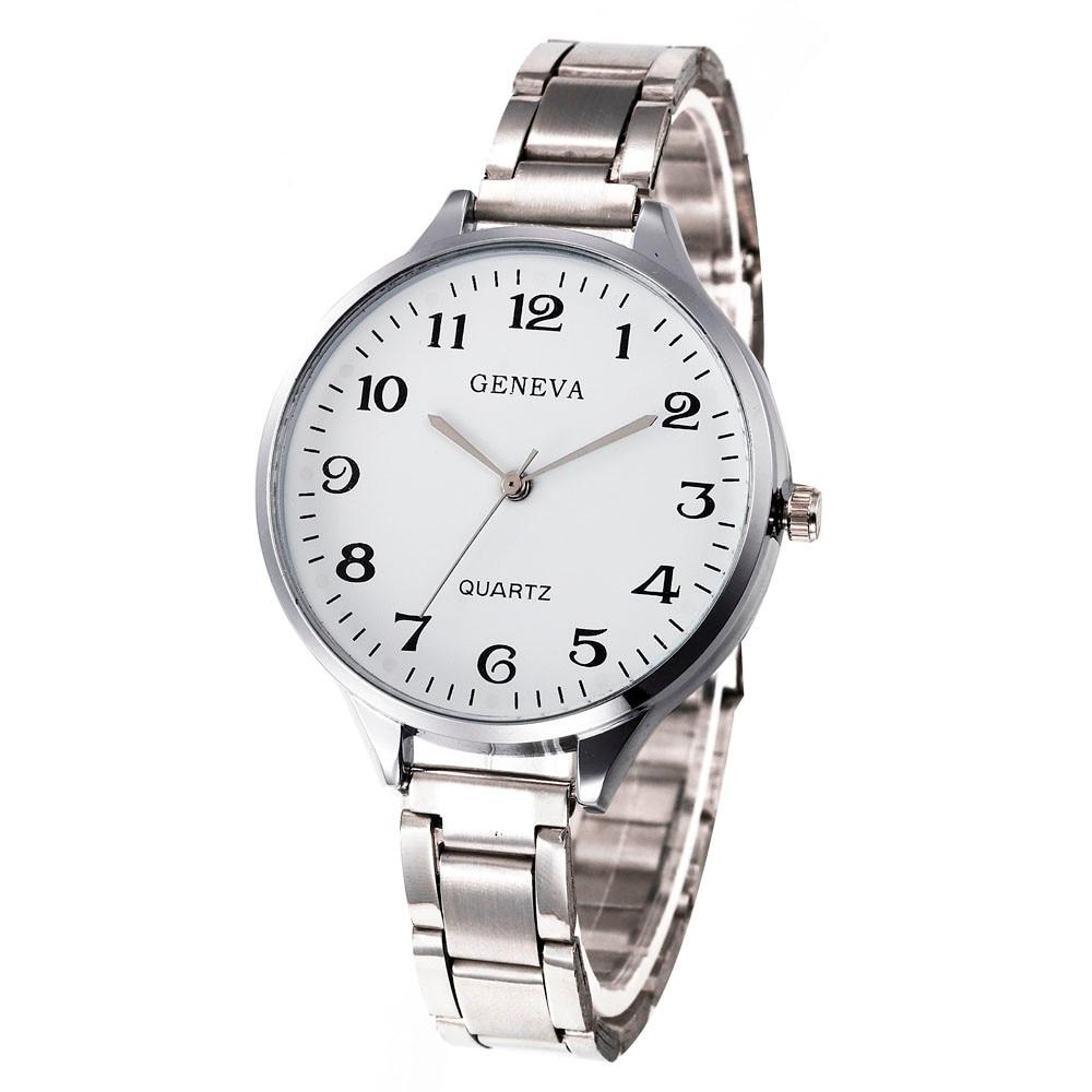 Relogio Femino Sliver Women's Watches Fashion Roman Numberals Stainless Steel Big Dial Quartz Watches 2019 Clock Erkek Kol Saati
