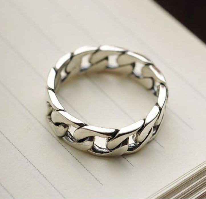 S925 exquisite sterling silver jewelry silver jewelry jewelry chain ring Seiko men's free shipping