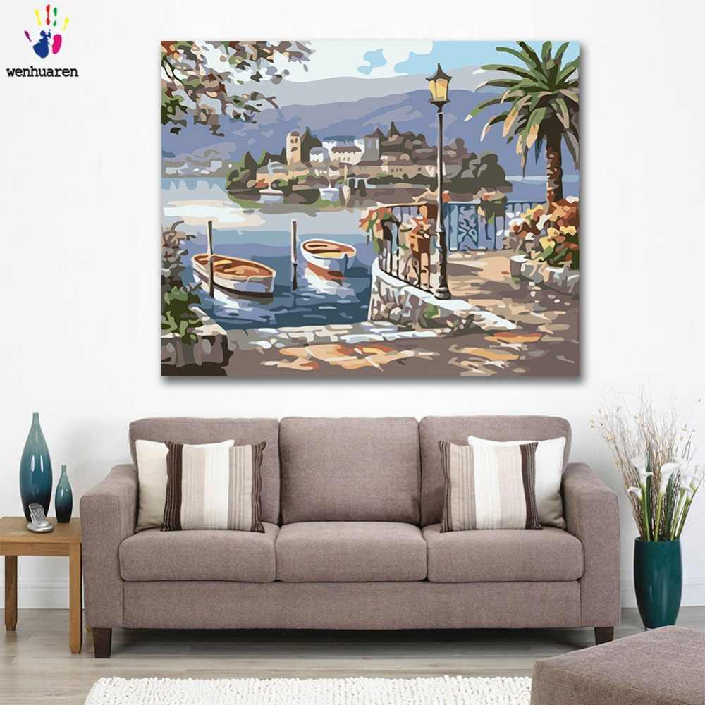 DIY colorings pictures by numbers Small boat by the harbour picture drawing painting by numbers framed Home