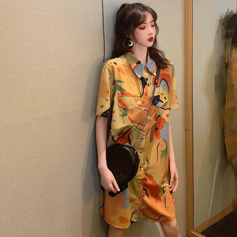 [EWQ] 2019 夏新ヴィンテージファッション服抽象的なプリントシングルブレストターンダウン襟ロングシャツ女性ブラウストップ QH863