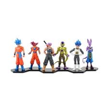 6pcs/lot 14cm Cartoon Dragon Ball Z PVC Action Figure Goku Son Toys Figures Dolls with black base