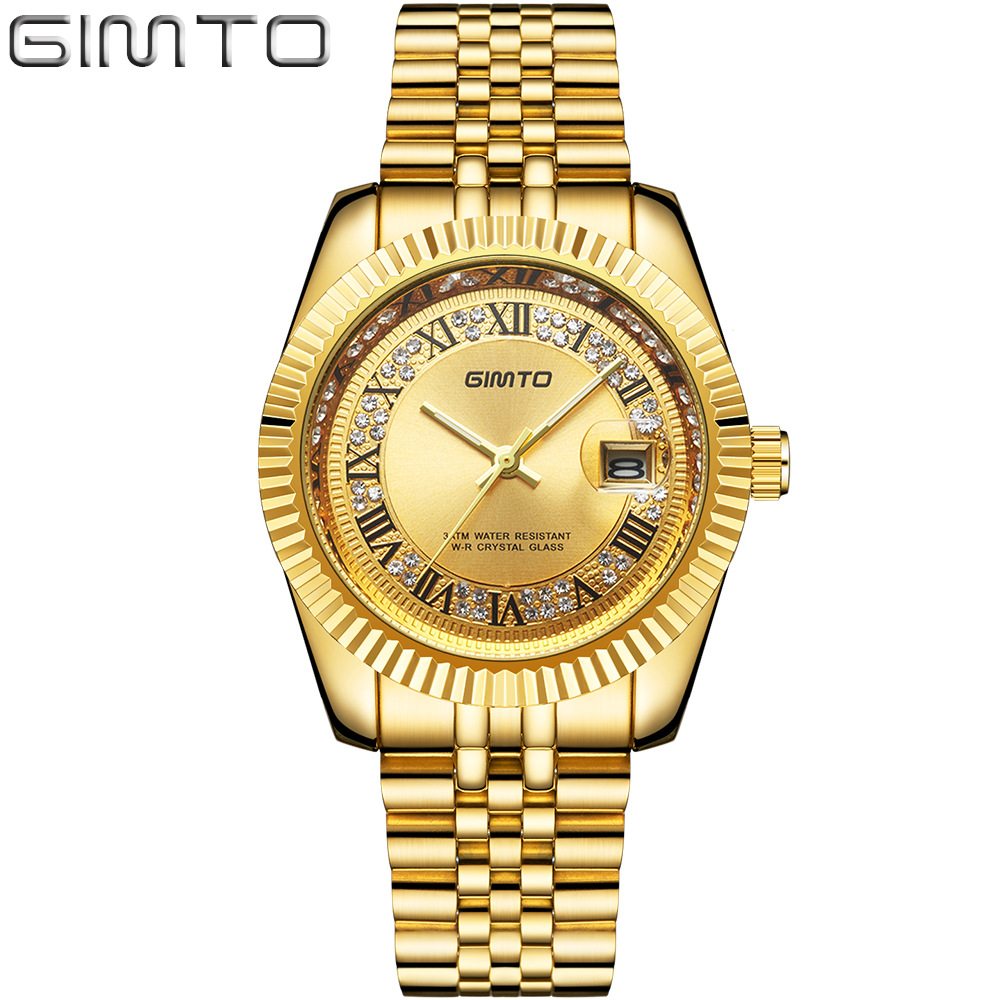 Luxury Gold Men Watch Top Brand Rhinestone Roman Nemeral Stainless Steel Man Dress Quartz Watch Casual Business Clock Men's Gift luxury men gold watch top brand antique unique style dress business man quartz watch gimto simple casual male golden clock