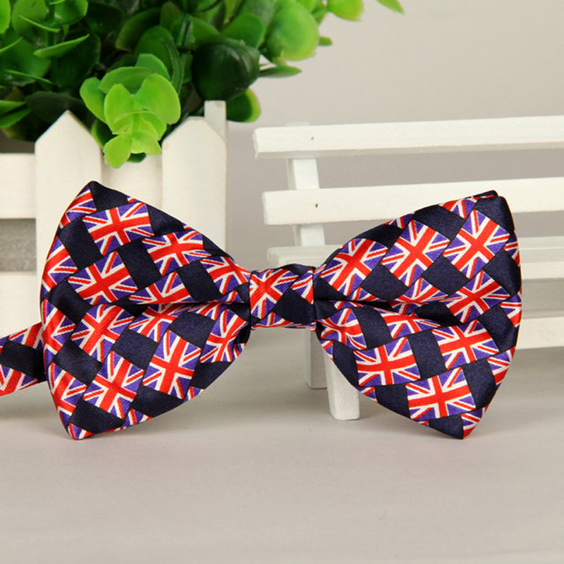 Mens Fashion Britain Flag Print Bow Tie Cheap Unisex Adult Hand Made Business Casual Weddings Britain Flag Bowtie Bow Tie Men