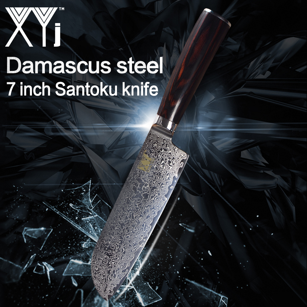 XYj New Arrival 2018 Damascus Steel Kitchen Knife VG10 Core Color Wood Handle Santoku Knife Japanese