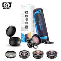 APEXEL HD 5 en 1 lente de teléfono de la Cámara 4 K lente de macro de ancho retrato lente super Fisheye filtro CPL para iPhone7 8 Samsung allsmartphone