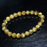 Natural Genuine Arrange Titanium Gold Hair Rutile Quartz Cat's Eye Stretch Bracelet Round Beads 7.5mm