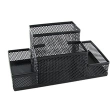 Black Mesh Style Pen Pencil Ruler Holder Desk Organizer