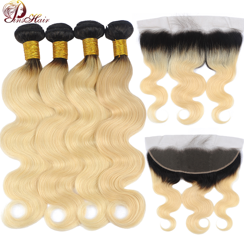 Pinshair 613 Ombre Blonde Bundles With Frontal Body Wave Bundles With Lace Frontal Closure Peruvian Non-Remy Human Hair Bundles