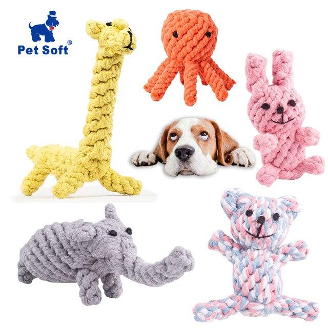 Juguetes Para Mascotas perro suave diseño Animal algodón perro cuerda juguetes de algodón Durable masticar juguetes de entrenamiento para dentición para pequeños medio cachorro
