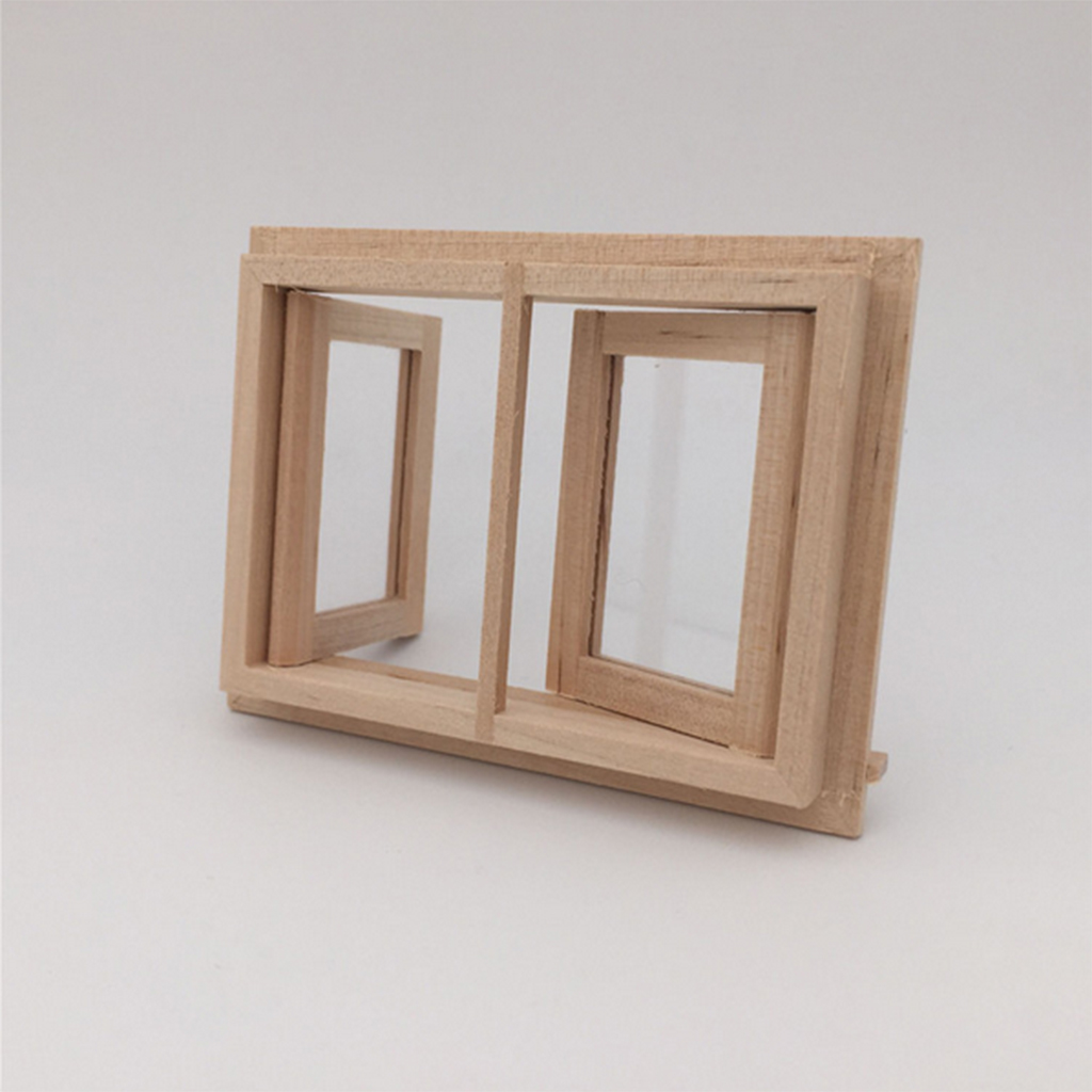 2pcs Lot Doll House Window 1 12 Scale Wood Miniature Dollhouse Dolls Wiring Kit Unpainted Wooden 2 Pane Model Rooms Decor Diy Accessories