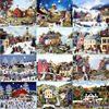 American Village Oil Painting Wood 500pcs Adult Puzzle Children Educational Toys Wool Puzzles Decompression Gift Free