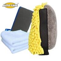 AutoCare Car Washing Drying Set Include Magic Car Washing Clay Mitt Car Wash Microfiber Chenille Glove