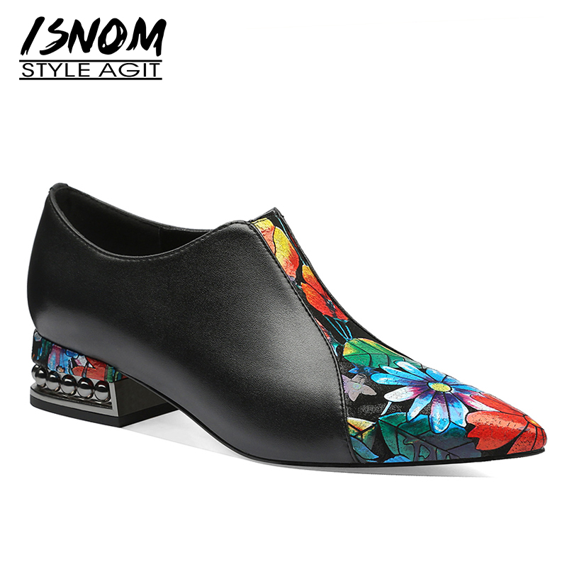 ISNOM Stud Thick Heels Rivets Pump Women Pointed Toe Footwear Flower Print Cow Leather Shoes Female