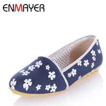 ENMAYER Women Spring and Autumn Print Flowers Canvas Sweet Ladies Shoes Woman School Slip-on Flats Casual Girl Shoes