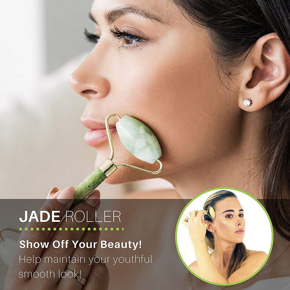New Version Face Jade Roller, Facial Roller Massager, For Eye, Neck, Skin, Body Slimming, Anti-Aging Anti-Puffiness Fast Ship