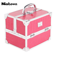 New High Quality PU Cosmetic Case Waterproof Cosmetic Bag Double Layer Open Cosmetic Case Portable Large Capacity Toolbox